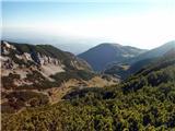 Pogled na prehojeno pot spodaj planina Koreno, v daljavi Kriška planina, 31.10.2015.