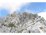 Vernarob povratku na grebenu, pogled nazaj na vrh