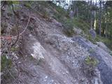 Strma peč po Via NorinaZavarovan del z vrvjo