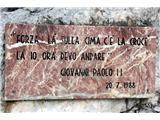 Monte Peralba (2694)plošča na poti Janeza Pavla II, z datumom njegovega obiska vrha gore Monte Peralba