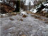 Debenji vrhna začetku poti nekaj ledu na poti