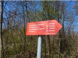 Šenturška Gora 671 mSmerna tabla pri Planinskem domu Komenda