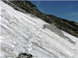 Vogel-Šija-Rodicaena od dveh snežnih zaplat na poti