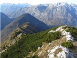 Planina Za Skalo in Kaludergreben, na začetku sem kar dobro se lovil po rušju