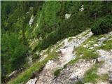 Debela peč, Brda, Lipanski vrh, Mrežcekrajši strm vzpon (pogled nazaj)