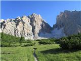 Monte Cristallo (3221)proti gori z začetnim meliščem