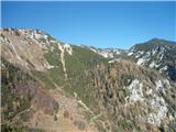 Spust v Dol s Kriške planine in nato zopet v vzpon na planino Koreno na poti na Vrh Korena. 31.10.2015