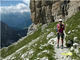 FERRATA SOSAT-Dolomiti di Brentazadaj previs nad polico koder je potrebna previdnost