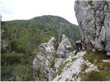 Ojstri vrh 1371mLepa skalna polica in prehod naprej