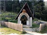 Pot Chersi / Sentiero Alpinistico Carlo ChersiOd kapelice na zgornjem parkirišču moram le še 3 km po cesti do avta