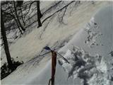 Rjavčki vrh ali Planinšca ( 1898m )nov napihan sneg na logarski strani  M. okna