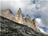 Tri CineCima Grande se skriva v oblaku, Cima Piccola, Punta Frida in Cima Piccolossima pa razkazujejo svoje očarljivo JV lice