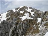 Batognicana strmem delu poti tik pod vrhom Batognice, ki gre po Tolmiski strani je, še nekaj zaplat snega, zato se tukaj obrnem