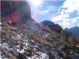 Debela peč, Brda, Lipanski vrh, Mrežcenazaj grede po spodnji poti, kjer se najde še malo pomrznjenega snega..previdno!