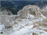 Grintovecproti Mlinarskem sedlu je več snega