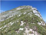 Strma peč po Via NorinaBlizu vrha
