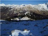 Krasji vrhpogled proti SV na prehojeno pot mimo Snežne jame in ruševin