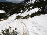 Kalški grebenna poti še kar nekaj snega