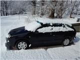 Ljubelj - Koča VrtačaOkrog 5 cm snega