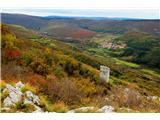 Pogled z vrha Kraškega roba na Hrastovlje in obrambni stolp nad Podpečjo
