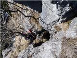 Javorca(Golte)plezarija v Požganiji, Milan pred vhodom v Knafeljčovo jamo