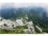 Z vrha Risnjaka pogled proti planinskemu domu