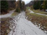 Ljubelj - Koča VrtačaDeroča voda iz hudournika je hitro odtekla v dolino