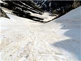 Mala Mojstrovkapri povratku se je sneg omehčal(po melišču)