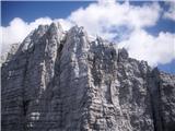 Strma peč po Via Norinaiz ferate viden del grebena od Peklenskih vrat proti Zabušu