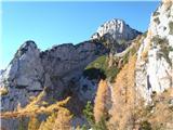 Ojstricaspodaj po grušču, zgoraj pa po izpostavljeni grapi na vrh grebena