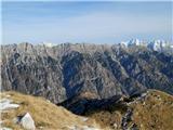 Alta via CAI Gemona (greben Lanež - Veliki Karman)Monte Musi, nekje na sredini, kamor gre markirana pot od biwaka Brolo