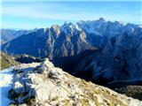 Šitna glava (Nad Šitom glava)pogled z vrha proti Špiku,Škrlatici in ostalim vrhovom