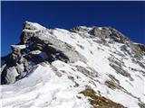 Kukova špica... do sedla med Škrnatarico in Kukovo Špico ter pogled proti vrhu
