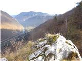 Žamboh (738 m)razgled z vrha skalnega osamelca spodaj na reko Savo in vas Renke