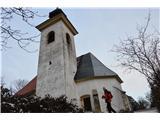 Znamenja (križi in kapelice) na planinskih potehCerkev Sv. Miklavža na Vimperku.