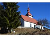 Znamenja (križi in kapelice) na planinskih potehCerkev Sv. Primoža pod grebenom Čemšeniške planine.