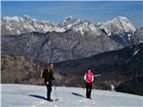 Krasji vrhin takole sta se prva poslovila z vrha, po poti mimo Snežne jame