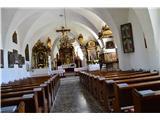 Znamenja (križi in kapelice) na planinskih potehNotranjost cerkve.