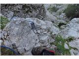 Begunjščica - V greben...z daljšim bi se spustila do zelenja,  kjer gre kamin navzgor...