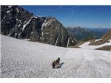 Mont Blanc / Monte BiancoPrečimo prva snežišča, dereze zaradi mehkega snega še niso potrebne