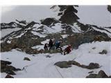 Mont Blanc / Monte BiancoSpust po grebenu proti spodnji koči