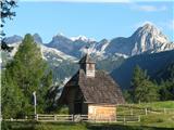 VernarPlanina Uskovnica s kapelico in čudovitim ozadjem.