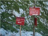 Grintovec in Kočnana križišču, kjer se odcepi pot na Kokrsko Kočno