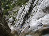 Slovenski slapovi vodotokov Še dol bo treba splezati.
