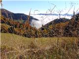 Loška planinska pot megleno v Poljanski dolini