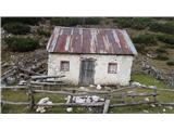 Kalški grebenStara hiška na planini Dolga njiva se komaj še drži