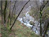 Slovenski slapovi vodotokov Tu čez se preliva zadnji slap, ki je viden iz soteske.