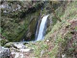 Slovenski slapovi vodotokov Mimo tega slapa moramo celo prečiti vodo.