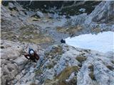 Kalška goraEdino snežišče, ki pa smo ga obvozili s plezanjem po desni strani