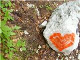 Čudovita naravasimpatičen srček na kamnu ob poti